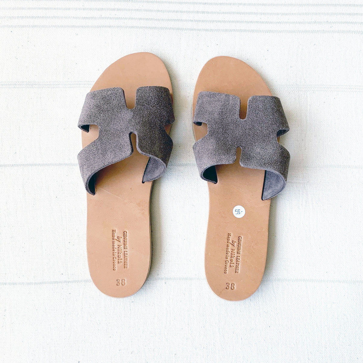 Suede Slip On Sandals - Taupe