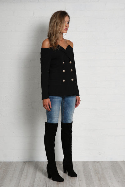 Cindy Off-Shoulder Blazer by Madison Square