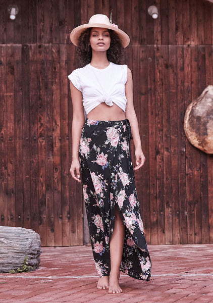 **PRE ORDER** Wild Rose Maxi Skirt Black by Auguste the Label