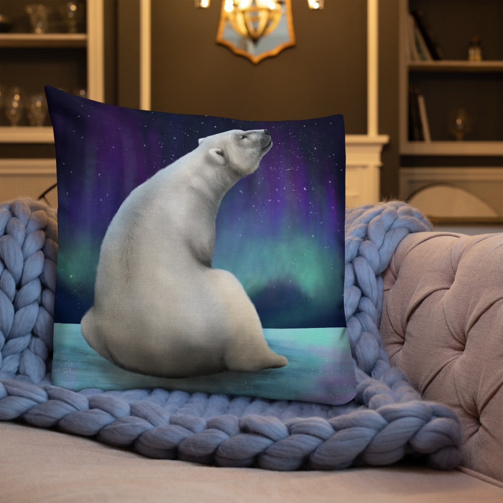 Polar Bear Aurora Night Premium Pillow