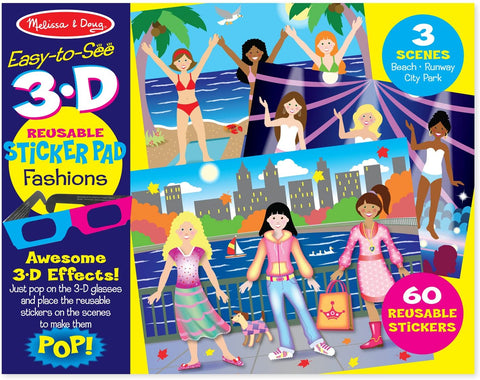 Melissa & Doug Easy-to-See 3D Reusable Sticker Pad, Fashions