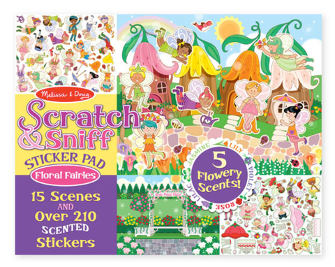 Melissa & Doug, Stratch & Sniff Sticker Pad, Floral Fairies