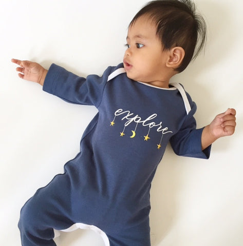 Explore Organic Cotton Long Sleeve Romper