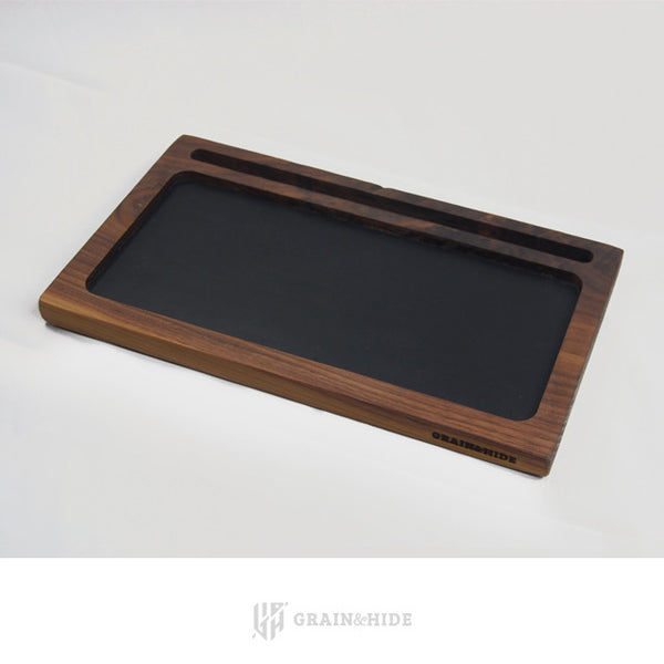 Walnut and Horween Leather Valet Tray