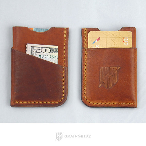 Horween English Tan Dublin Wallet Front and Back