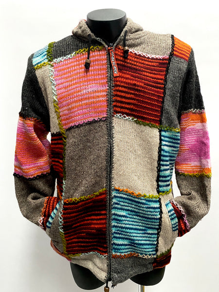 Embroidered Wool knit jacket XL