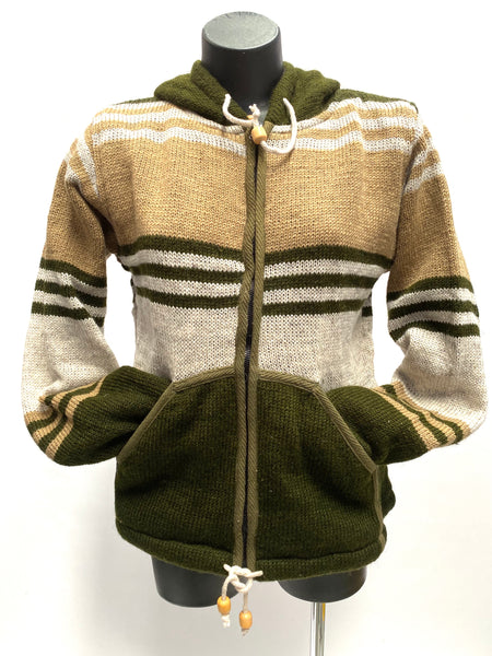 Wool knit jacket pixie hood