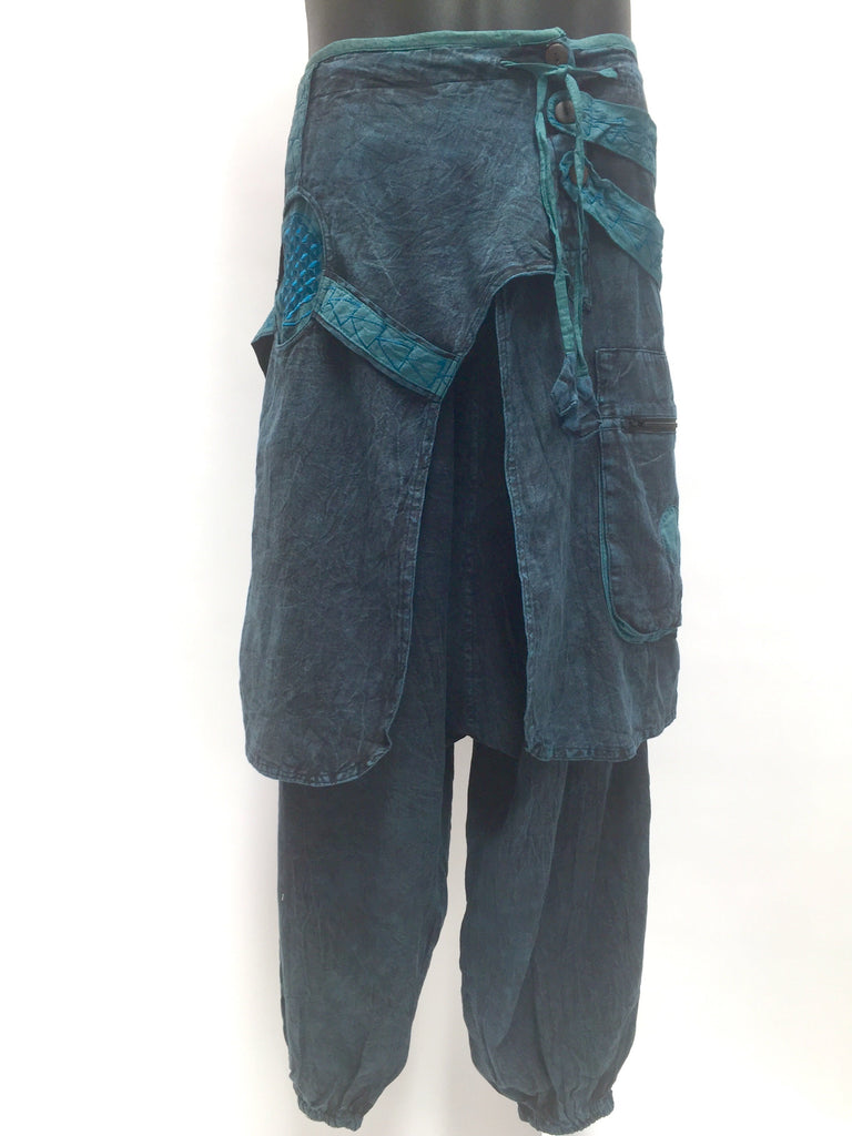 Doof Pants with wrap Teal Blue