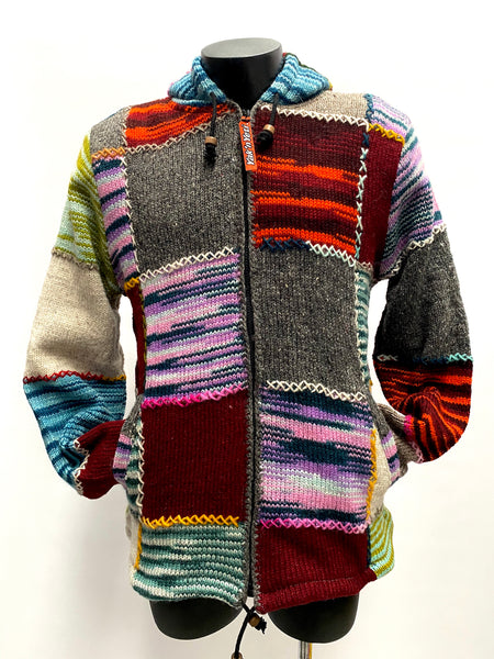 Embroidered Wool knit jacket L