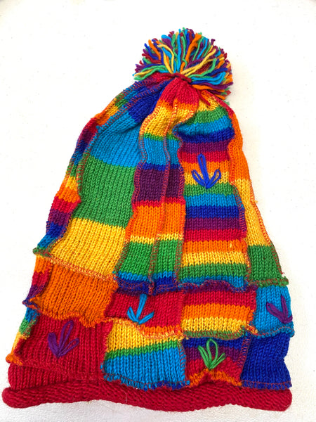 Wool knit winter hat Rainbow