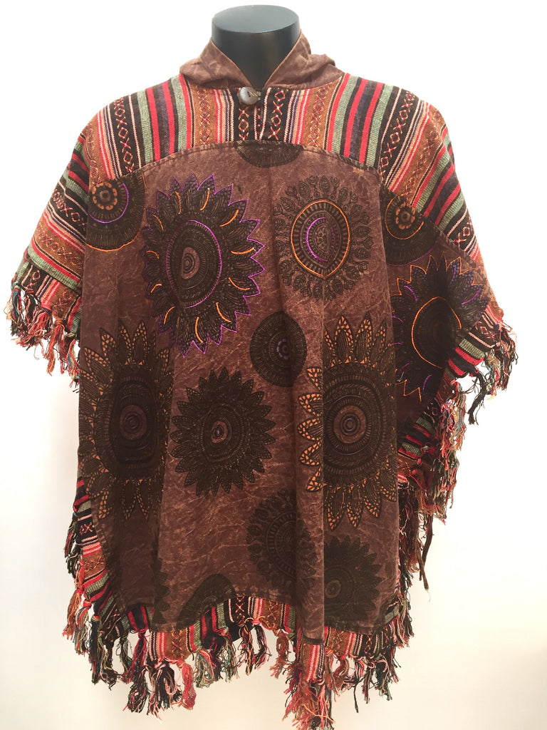 Poncho with embroidery