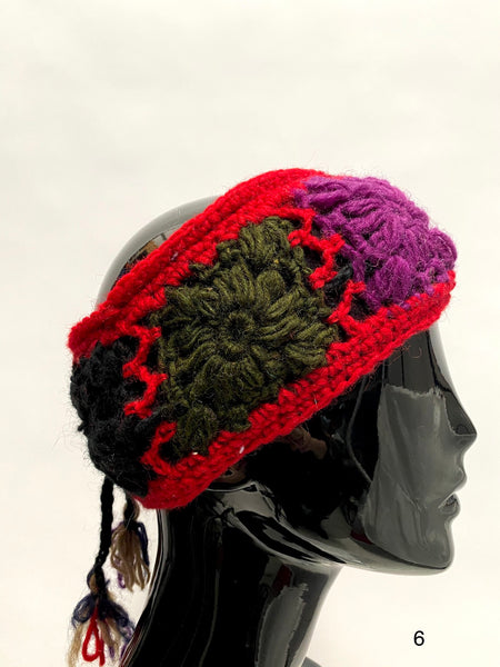 Crochet wool headband pink border