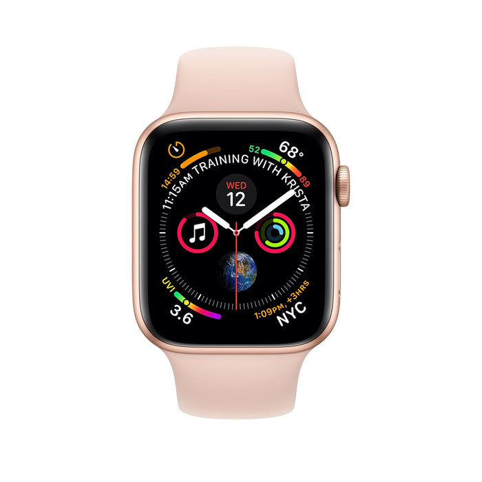 Apple Watch S5 Gold Aluminum Case with Pink Sand Sport Band 40mm - مع شريحة