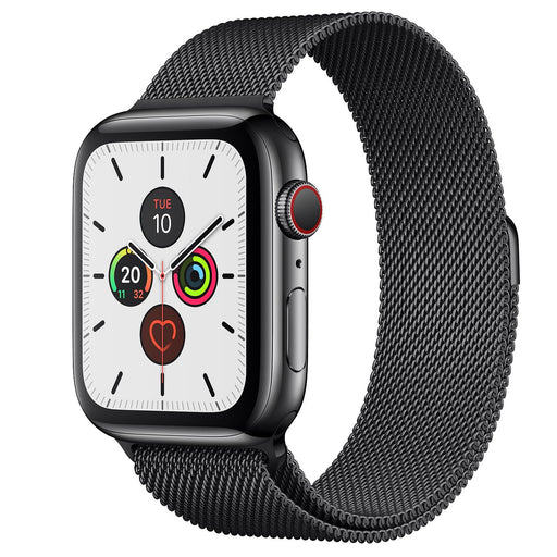 Apple Watch S5 Space Black Stainless Steel Case with Milanese Loop 44mm - مع شريحة⁩