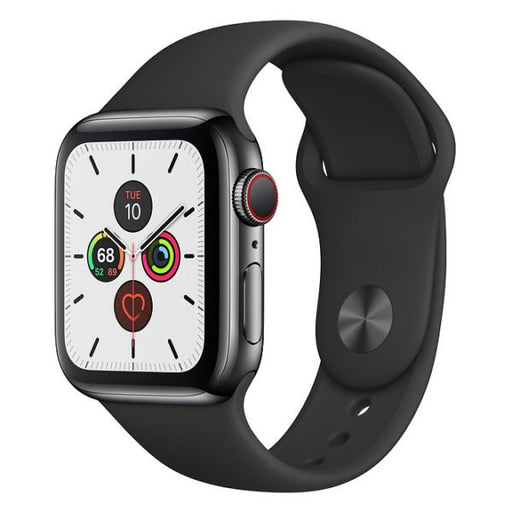 ⁨Apple Watch S5 Space Black Stainless Steel Case with Black Sport Band 44mm - مع شريحة⁩