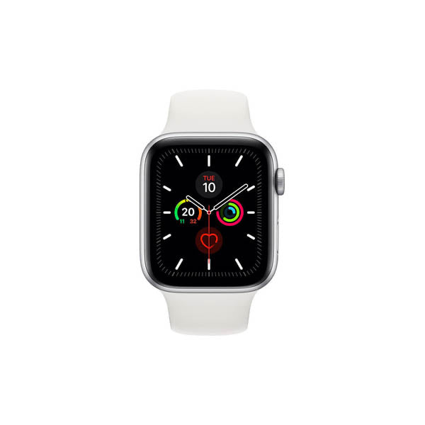 Apple Watch S5 Silver Aluminum Case with White Sport Band 40mm