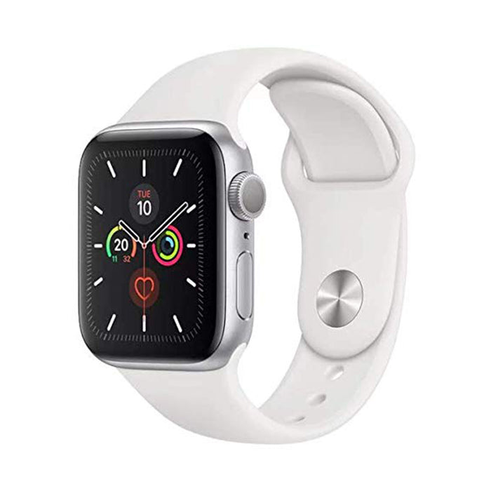 Apple Watch S5 Silver Aluminum Case with White Sport Band 44mm