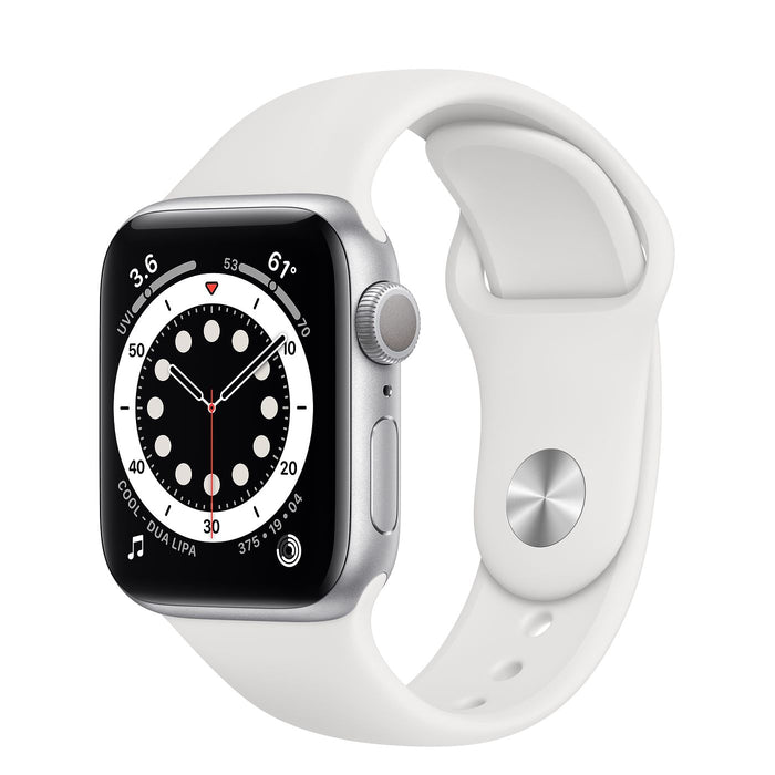 Apple Watch S6 Silver Aluminum Case with Sport Band  - White - 40mm