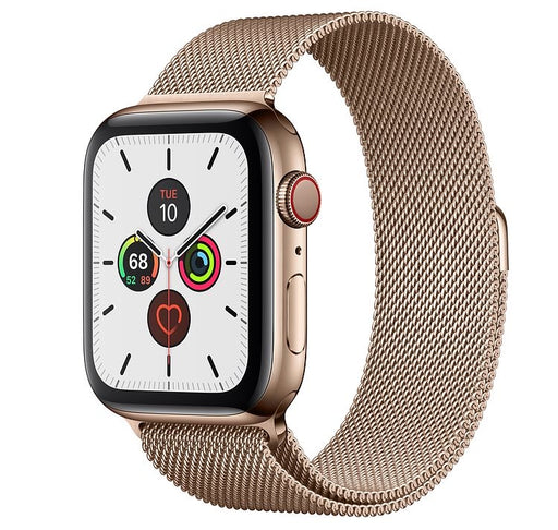 Apple Watch S5 Gold Stainless Steel Case with Milanese Loop 40mm - مع شريحة
