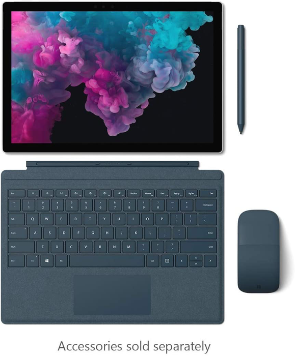 "Microsoft Surface Pro 6 / Intel i7 / 8GB RAM / 256GB SSD / 12.3"" touch display / Platinum"