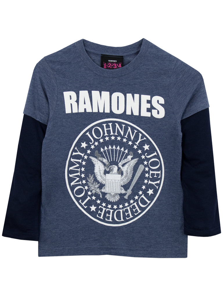 This % cotton, black toddler t-shirt from the Ramones features the group's classic presidential seal logo in white.