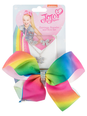 JoJo Siwa Bow and Jewellery Set - Rainbow