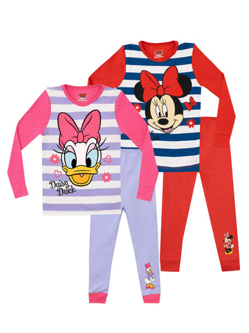 Disney Minnie Mouse and Daisy Duck Snuggle Fit Pyjamas 2 Pack