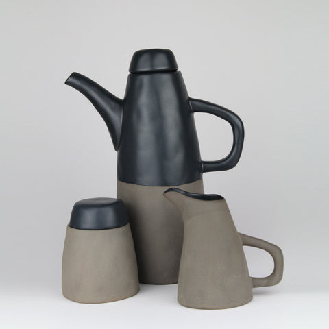Stoneware Coffee Pot | Stone + Black