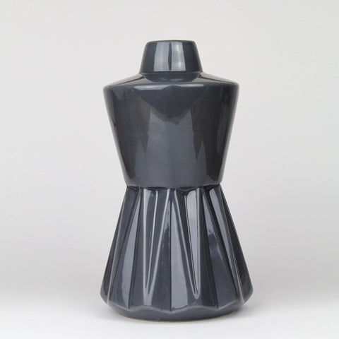 Geometric Hourglass Vase | Dark Grey