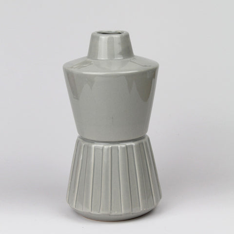 Geometric Hourglass Vase | Light Grey