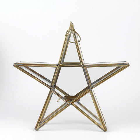 Standing Star Tea Light Holder | Antique Brass