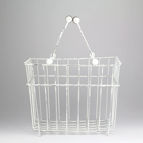 Wire Storage Basket with Handles | White