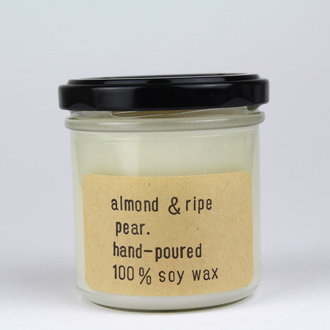 Almond and ripe pear hand poured soy wax candle