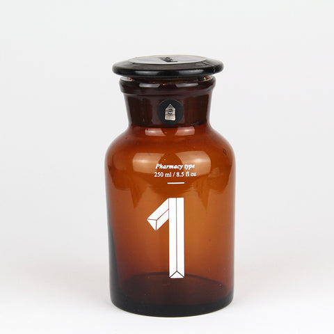Brown Glass Pharmacy Bottle | Number 1