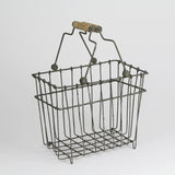 Wire basket with handles in grey