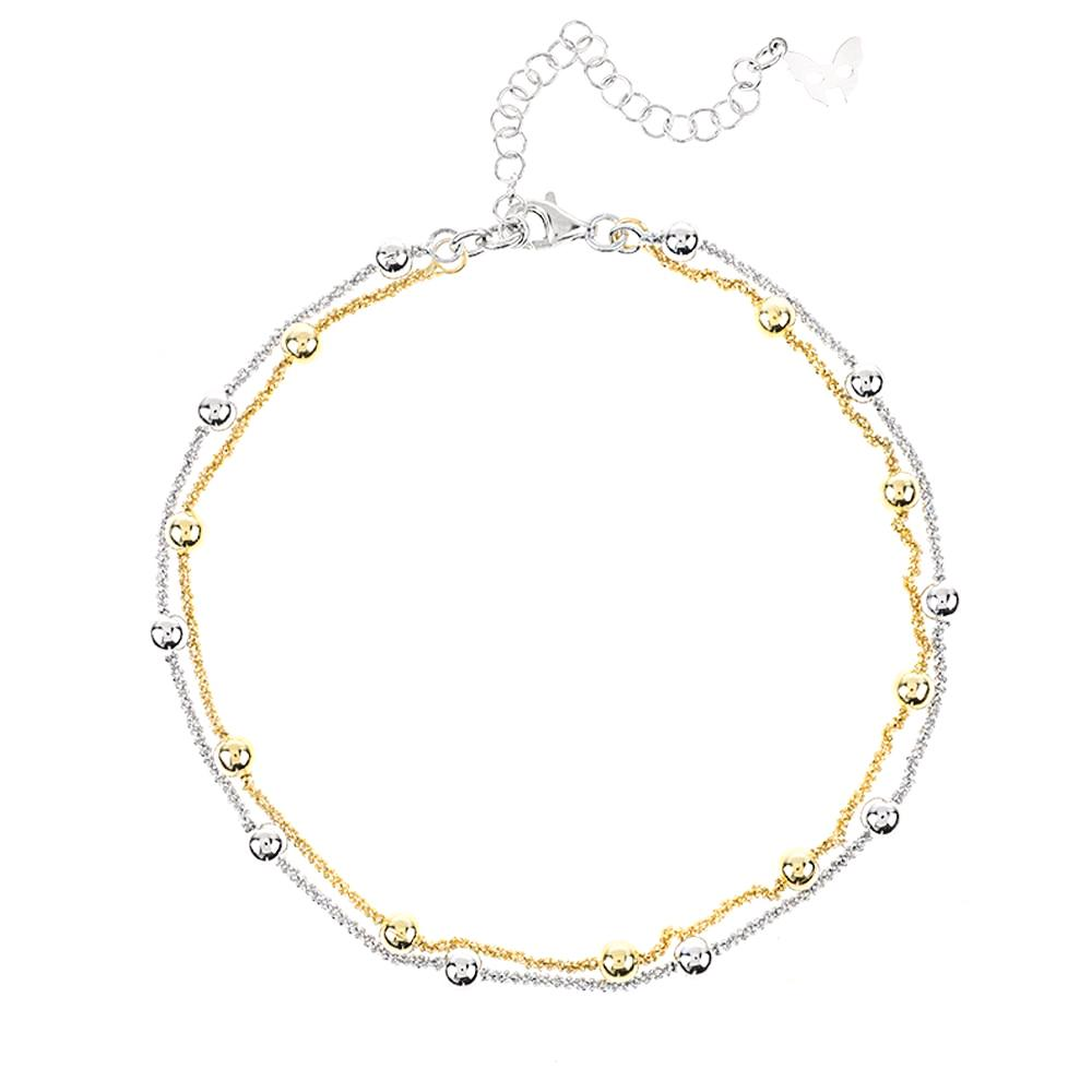 Silver and Gold Ankle Chain | Vamp London Jewellery