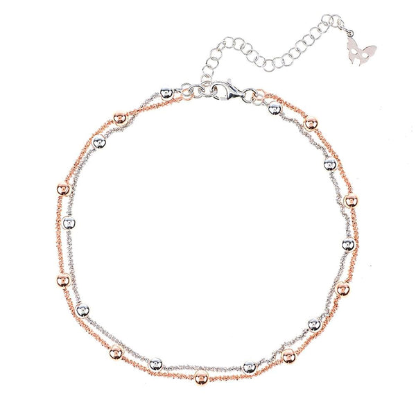 Silver & Rose Ankle Chain | Vamp London Jewellery