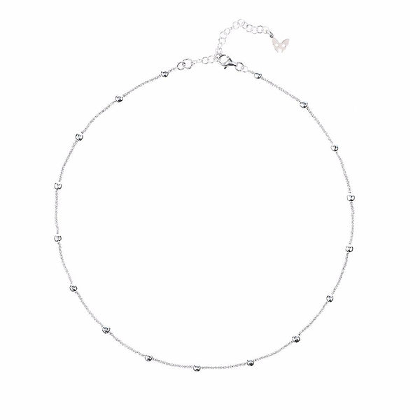 Vamp Chic Rio Beaded Collar Silver Necklace - Vamp London