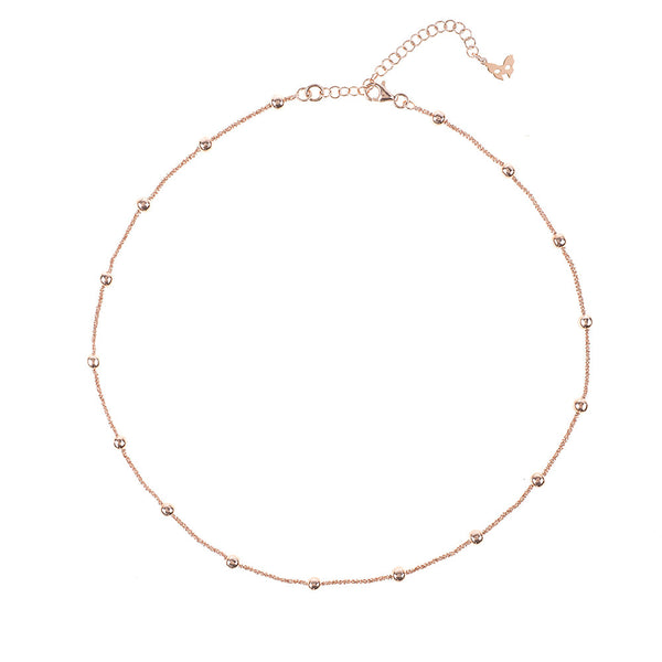 Vamp Chic Rio Beaded Collar Rose Gold Necklace - Vamp London