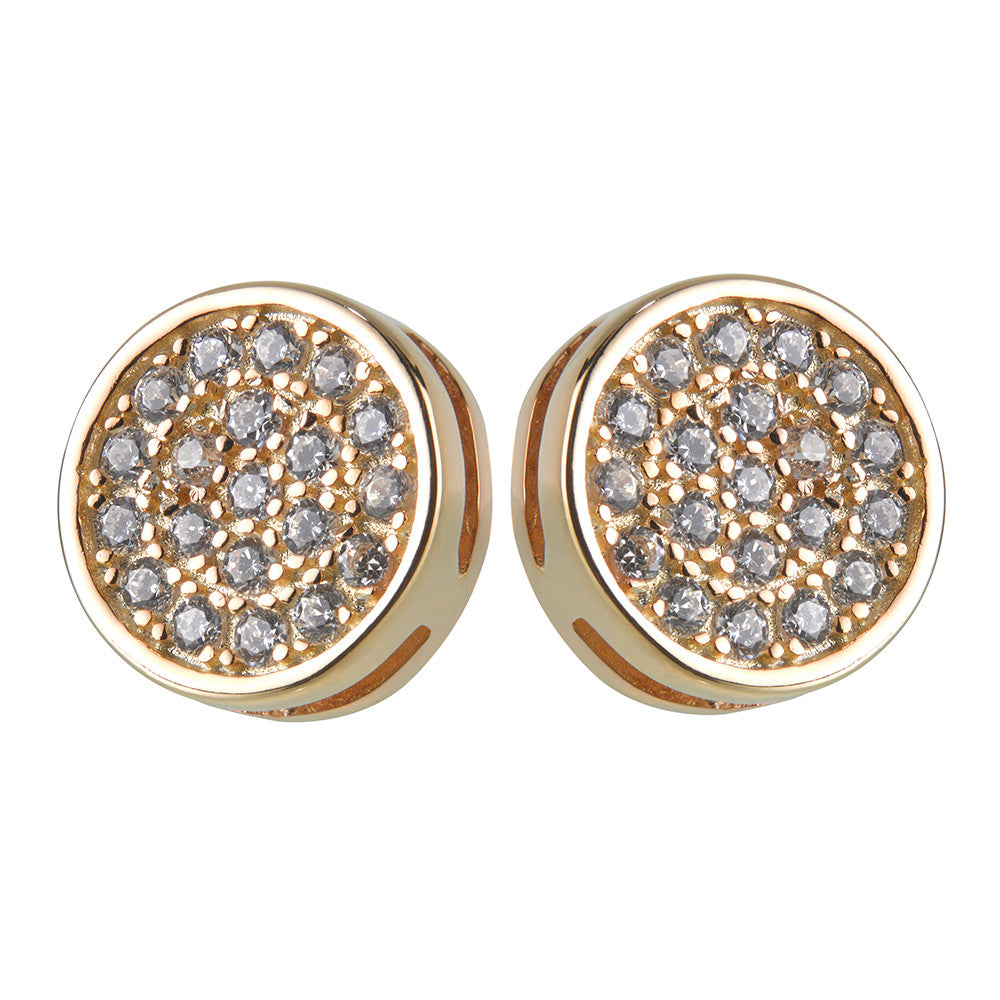 Small CZ Disc Yellow Gold Stud Earrings