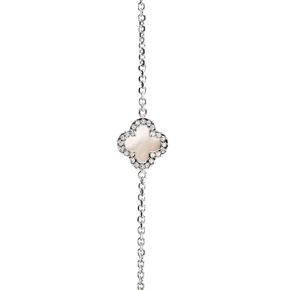 Symbolic Mother Of Pearl 3 Flower CZ Silver Bracelet - Vamp London