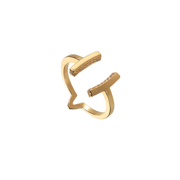 Attitude Yellow Gold Cuff Ring - Vamp London