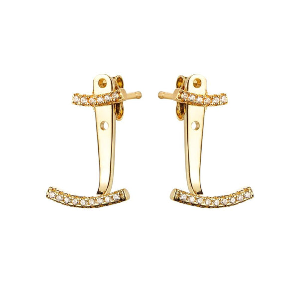 Yellow Gold Ear Jackets | Vamp London Jewellery