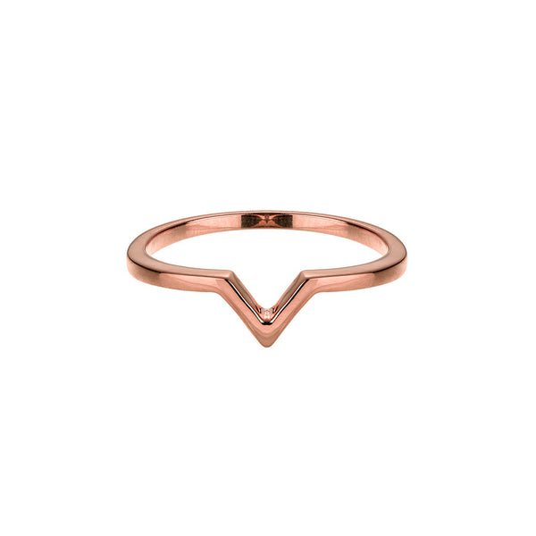 Attitude Rose Gold Stackable V Ring - Vamp London