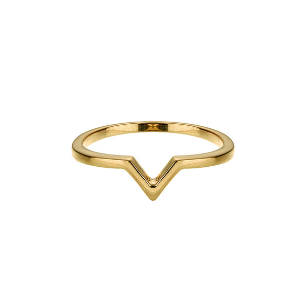 Attitude Yellow Gold Stackable V Ring - Vamp London