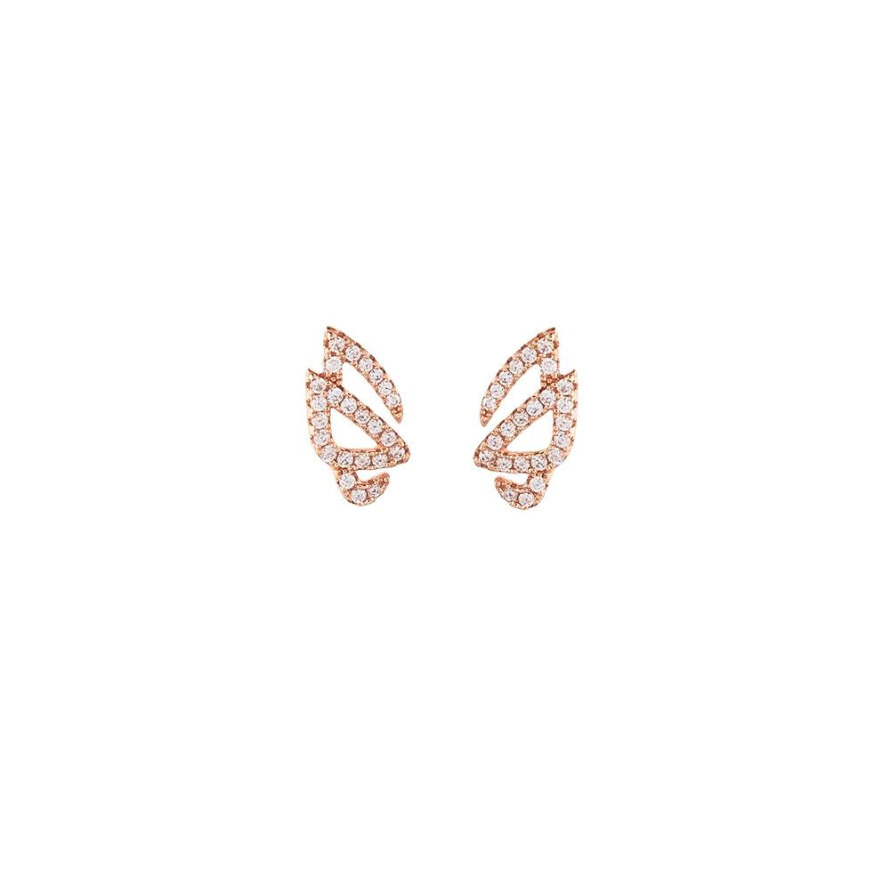 Hidden Mask Unmasked Rose Gold Stud Earrings - Vamp London