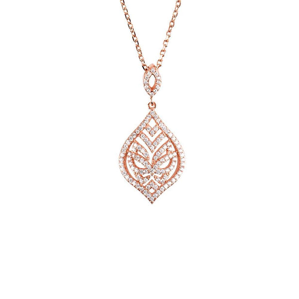 Hidden Mask Tear Drop Rose Gold Necklace - Vamp London