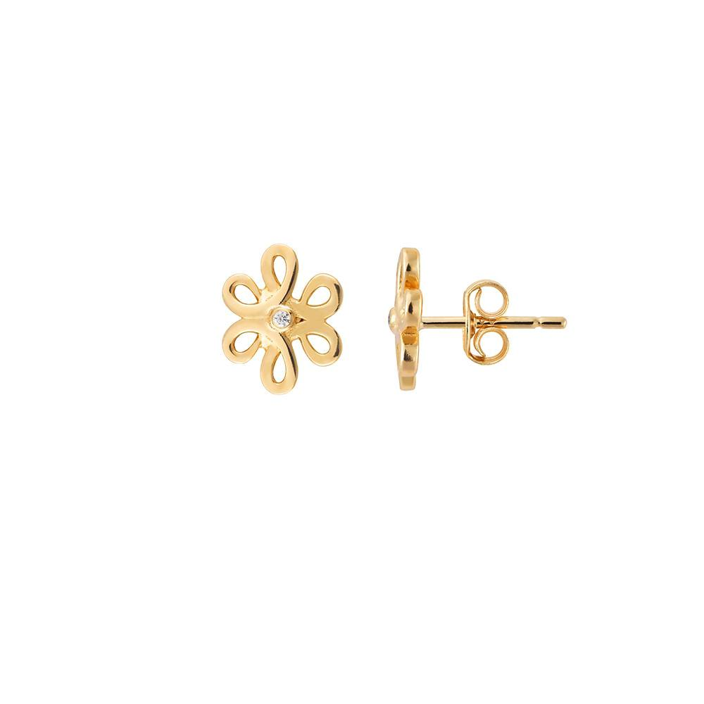 Yellow Gold Flower Studs | Vamp London Jewellery