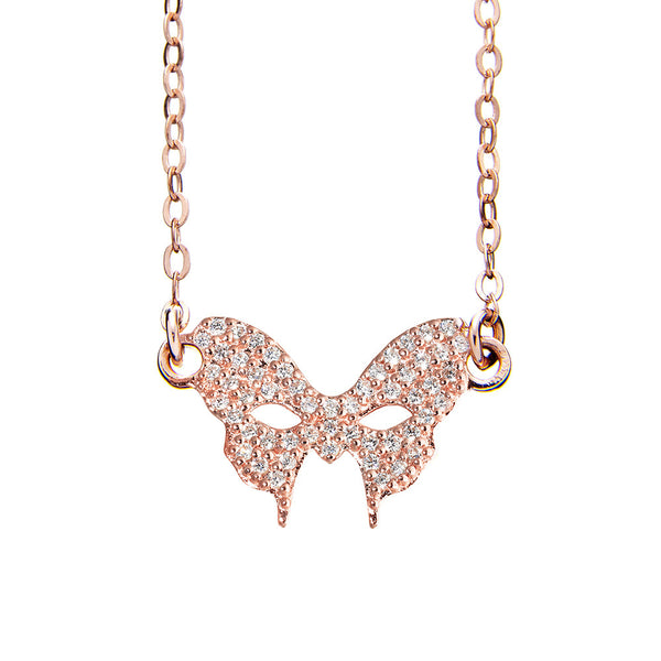 Masquerade CZ Vamp Mask Rose Gold Necklace - Vamp London