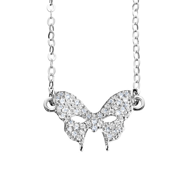 Masquerade CZ Vamp Mask Silver Necklace - Vamp London